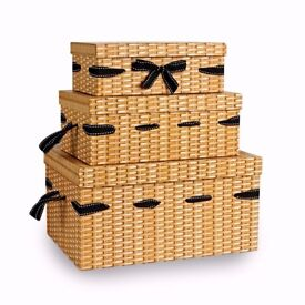 Set of 3 Wicker effect strong cardboard boxes with ribbon Ideal for hampers