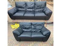 Lovely 2-3 seater black sofas set can deliver