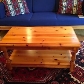 Sturdy Solid Pine Real Wood Natural Colour Coffee table EXCELLENT condition with shelf storage under