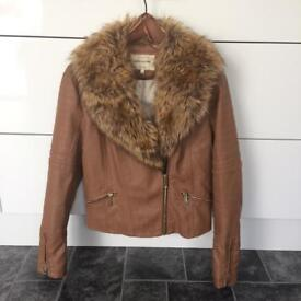 River Island Size 14 Tan leather jacket with Fur collar