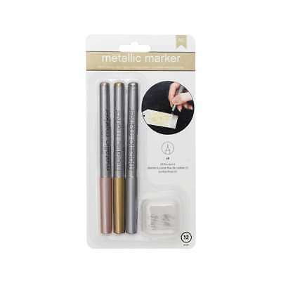 American Crafts Metallic Markers Fine Pt. Rose Gold, Silver 3/ Pack ()