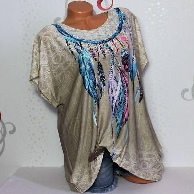 Damen T-Shirt Bluse Top Tunika Glitzer Federn 44 46 48