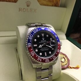 Silver Rolex GMT Master II with Pepsi Blue/Red Bezel Comes Rolex Bagged and Boxed with Paperwork