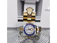 Brand New Two Tone Rolex Yachtmaster II. White face, Blue Bezel. Rolex bagged, Boxed with paperwork