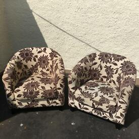 Two patterned tub armchairs