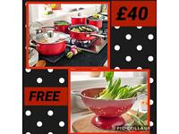 5 piece pan set with FREE colander £40