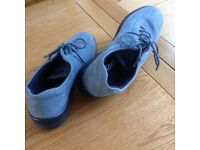 Blue nubuck lace up flat shoes, size 5 1/2, by Hotter