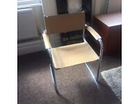 Cream leather and steel office chairs nearly new