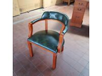 ANTIQUE/REPRODUCTION YEW LEATHER CAPTAINS/COURT OFFICE DESK CHAIR