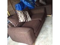 2 X two seater sofas chocolate brown material, reversible cushions nice pattern,excellent condition
