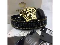 Studded polished gold exuberant design mens leather belt versace boxed
