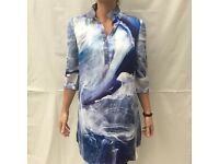 Brand new Anthropologie top with blue and white oceanic design