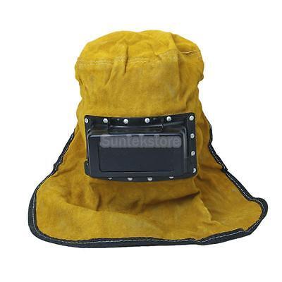 Leather Welding Hood Soldering Helmet Hat Head Face Eye Protector Guard