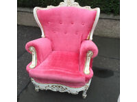 Rococo Style Armchair , covered in hot pink velour . Free Local Delivery.