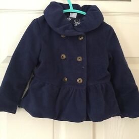 12-18 month girls' navy quilted coat.