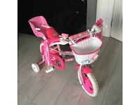 Girls 12 inch pink sparkle girls bike & safety helmet - excellent condition - rarely used! £40