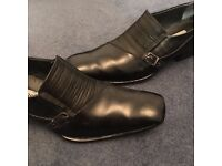 Men's black leather shoes with buckle and faux-croc design. size 10