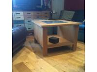 Oak coffee table with glass insert