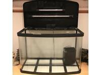 Large Glass Fish Tank Aquarium with Light, Filter, Gravel and Fish Food