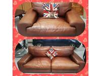 Large 4 seater and large cuddle chairs in tan leather can deliver
