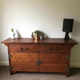 Beautiful solid wood Aztec / Art Deco / Old Hollywood style retro sideboard/cabinet/cupboard/drawers