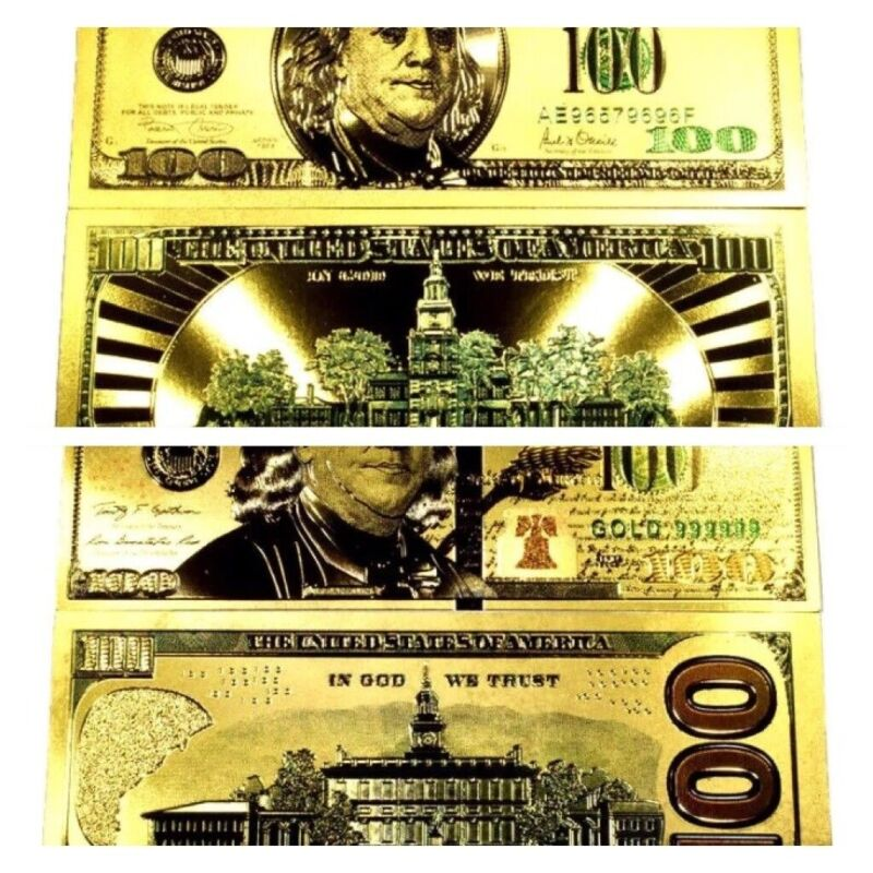 (2) 99.9% 24K GOLD $100 BILLS BOTH STYLES US BANKNOTES IN PROTECTIVE SLEEVES LOT