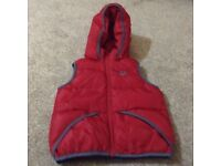 Boys red Benetton padded gillet with hood