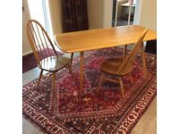 Ercol Plank Table and Two Quaker Dining Chairs