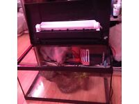 Fish tanks 55+24 open to offers , one with light, gravel and scenery thermometer etc