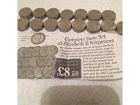 Coins - Collection of six pences 1953-1967