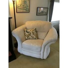 Matching suite of sofa and large snuggle chair