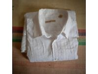 BEAUTIFUL TED BAKER WHITE SHIRT, FORMAL OR SMART CASUAL. WHITE-ON-WHITE STRETCHY COTTON SIZE 6 (XL)