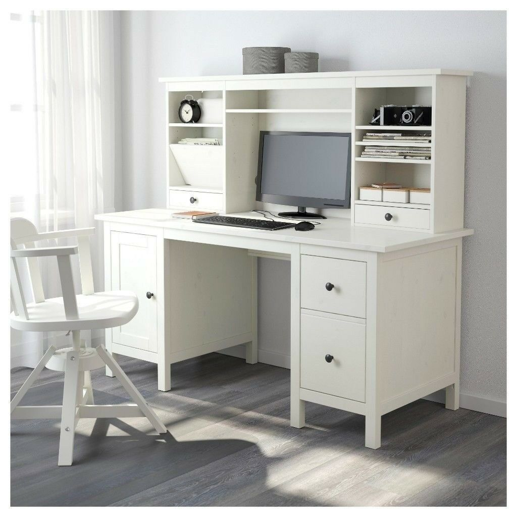 White Office Desk Ikea Hemnes With