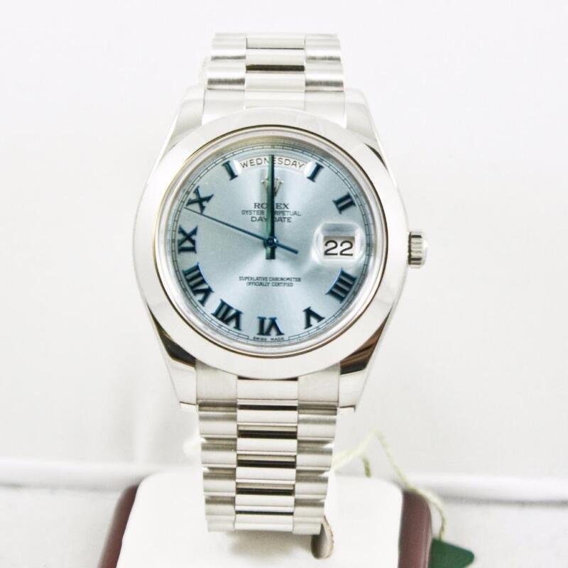 Rolex 41mm Platinum Day Date Ii 218206 Glacier Roman Dial & Smooth Bezel W Card