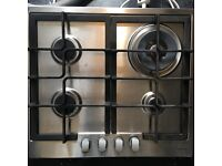 Gas hob and cooker hood extractor stainless steel