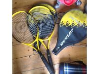 Two tennis rackets, Dunlop, good condition, work fine.