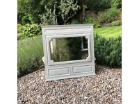 Antique shabby chic grey painted overmantle mirror