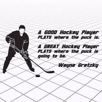 Hockey Wall Quote, Wayne Gretzky Hockey Quote, Hockey Wall Quote Decal, Gretzky