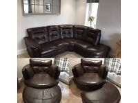Brown leather corner sofa with swivel chair and footstool. In excellent condition.