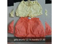 Pair of girl shorts 12-18 months