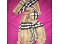 Brand new large Burberry scarf / shawl with real fur pompom