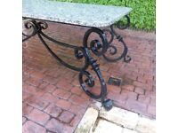 Wrought Iron Garden Table with Granite top