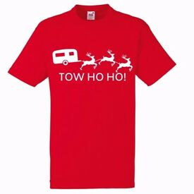 Tow Ho Ho Christmas Caravan T Shirt Any Size Caravanning Lunar Bailey S-3XL