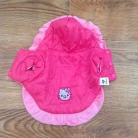 HELLO KITTY PINK DOG PADDED COAT With hood Size XS (see exact measurements in ad) - NEW