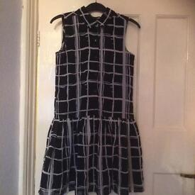 Girls black and grey checked dress