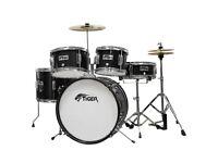 Tiger 5 Piece Junior Drum Kit - Drum Set for Kids in Black