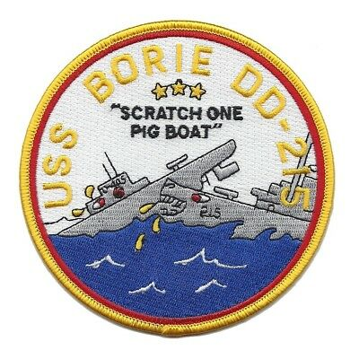US NAVY DD-215 USS BORIE Military Patch - Scratch One Pig Boat WWII