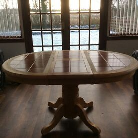 Kitchen tiled pine table