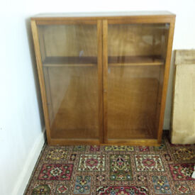 Large Pine Bookcase with glass doors and a key.