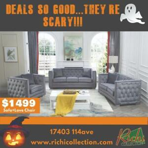BRAND NEW Tufted Jeweled Sofa Set for ONLY $1499 @ Richi Collections Spooktacular Savings Event!